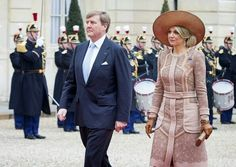 King Willem-Alexander & Queen Maxima Arriving At Elysee Palace,In Paris To Meet Francois Hollande, March 10, 2016.