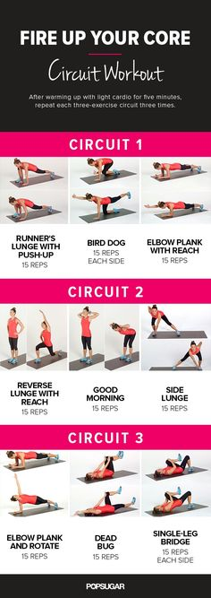 Goodbye, Tummy Tire; Hello, Amazing Abs: Printable Core Workout - Feeling a little mushy in your middle from all those holiday cookies and missed workouts? Its time to fire up your midsection with this dynamic core circuit workout! Its part of our Get Fit 2014 workout plan  just print out this poster and tone your core at home, the office, or the gym.