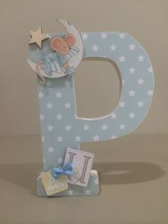 Baby blue P Mdf Letters, Nursery Letters, Nursery Wall Decor, Baby Decor, Kids Decor, Baby Shower Decorations, Craft Letters, Diy Monogram, Monogram Letters
