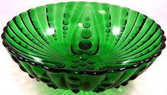Anchor-Hocking-Burple-Green-Large-Footed-Bowl-Dessert-Serving-or-Display-Vintage