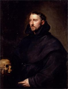 Dyck Anthony Van Portrait Of A Monk Of The Benedictine Order Holding A Skull by Sir Anthony Van Dyck Anthony Van Dyck, Sir Anthony, Anton Van, Roi Charles, Benedictine Monks, Terra Nova, Dutch Golden Age, Baroque Art, Old Master