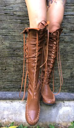 These delicious milk chocolate leather knee high boots are perfect for a beautiful bohemian look this season. Made with soft leather and boasting a delicate lace detail, these trendy hand crafted ladies boots are the ideal solution for any occasion, where you are sure to turn heads on the high street.