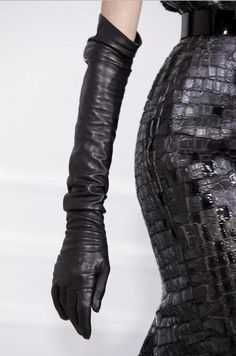 Not sure if this is leather or reptile skin, but it is  still fabulous! Love the textures from the skirt and gloves.