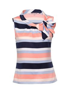 Tilly Stripe Royce Top | Navy & Multi | Pussy Bow Blouses
