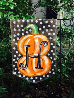 Burlap garden flag with pumpkin by ModernRusticGirl on Etsy, $20.00