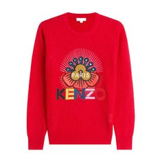 Kenzo Embroidered Wool Pullover ($272) ❤ liked on Polyvore featuring tops, sweaters, red top, pullover sweater, fitted sweater, woolen sweater and kenzo sweater