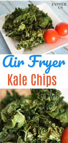 These Air Fryer Kale Chips are the perfect snack for any diet and any occasion. - These Air Fryer Kale Chips are the perfect snack for any diet and any occasion. Made with just a s - Air Fryer Recipes Potatoes, Air Fryer Oven Recipes, Air Fryer Recipes Kale Chips, Super Healthy Recipes, Healthy Meal Prep, Healthy Snacks, Quick Recipes, Healthy Drinks, Beginner Recipes
