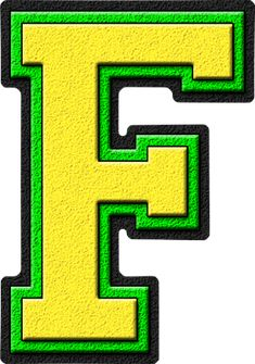 Presentation Alphabet Set: Yellow & Kelly Green Varsity Letter F