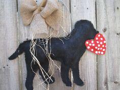 Burlap Door Hanger Black Lab with Heart by nursejeanneg on Etsy, $28.00 Burlap Art, Painting Burlap, Burlap Crafts, Burlap Wreath, Burlap Signs, Wood Crafts, Burlap Door Hangers, Halloween Hats, Dog Ornaments