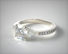 This white gold three stone trillion and pave set diamond engagement ring is available with risk-free retail at James Allen Non Diamond Engagement Rings, Engagement Rings Cushion, Designer Engagement Rings, Engagement Bands, Three Stone Diamond Ring, Diamond Rings, James Allen, Wire Baskets, Wedding Rings