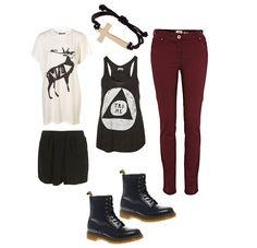 Wine Skinny Jeans or Black Skirt. Hipster Look.