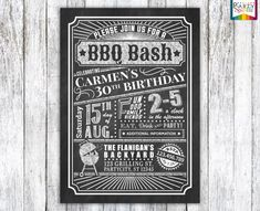 Birthday BBQ Bash Chalkboard Invite Personalized by PartySparkle