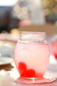 love the pink lemonade with the red heart ice cubes (good idea, and great photo)  Thanks to Judy for cutting heart shaped strawberries for the lemonade at Riki's bridal shower. <3