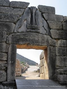 The Lion Gate is the main entrance to the citadel of Mycenae, an archaeological site in the Peloponnese area of Greece.