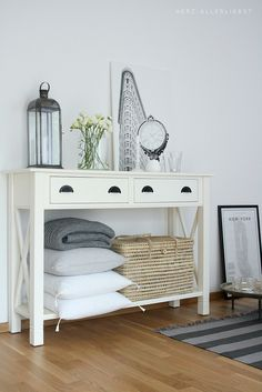 .love this for bathroom. not too many drawers, open space below, just add sinks & mirrors