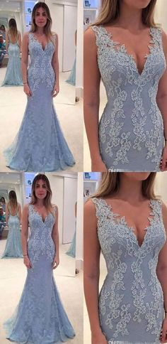 Customized Fancy Long Mermaid/Trumpet Evening Dresses, Light Blue Sleeveless With Lace Floor-length Prom Dresses G170#prom #promdress #promdresses #longpromdress #promgowns #promgown #2018style #newfashion #newstyles #2018newprom #eveninggown#mermaidpromdress#lightblue#lace