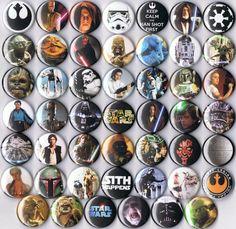 huge lot Star Wars party favor pins buttons badges retro wholesale bulk han sith