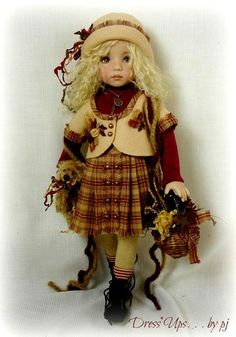 Effner Little Darling in plaid ensemble