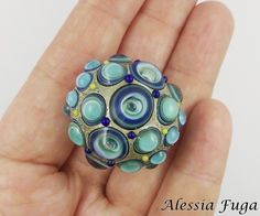 """Handmade focal lampwork glass bead in blue and light turquoise with bubbles, """"Fenice"""" series di alessiafuga su Etsy"""