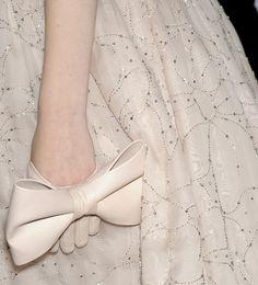 Big bow leather gloves & dainty floral pattern embellished dress; fashion details // Valentino