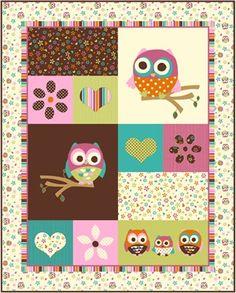 David Textiles, Hoot Owl, Owl Panel (1 Yard Panel)