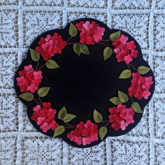 Inspired by a Primitive Gatherings pattern Blue Hydrangeas.  Pink Hydrangea Penny Rug Candle mat