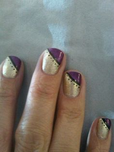purple and gold. nails by Jenna :) fits perfectly with my marching band uniform!
