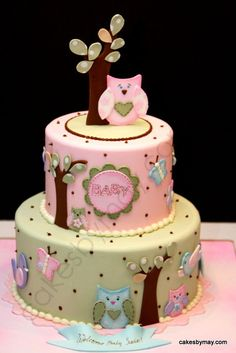 Owls, Butterflies and Birds Baby Shower Cake