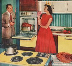 20 retro yellow kitchens from yesteryear: Sunny midcentury home decor - Click Americana 1950s Housewife, Vintage Housewife, Vintage Humor, Vintage Ads, Vintage Woman, Vintage Food, Vintage Images, Retro Home, Vintage Kitchen