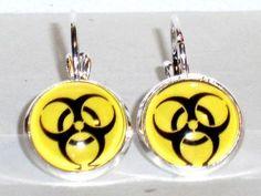 Verrückte Ohrringe und Schmuck Welt  - Ohrringe Biohazard Damen OhrschmuckModeschmuck ohne Stein Glas Metalllegierung Neuware