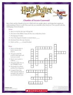 TEST YOUR KNOWLEDGE: Complete The Chamber of Secrets Crossword! Download by clicking the image above! For more activities visit www.scholastic.com/hpread #HarryPotter #HPread