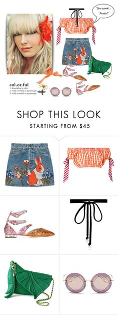 """""""Sunny days are here again"""" by curlysuebabydoll ❤ liked on Polyvore featuring Gucci, House of Holland, Chiara Ferragni, Joomi Lim, Miu Miu and Prada"""