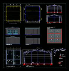 Industrial hangar in AutoCAD Truss Structure, Shade Structure, Steel Structure, Steel Trusses, Roof Trusses, Spiral Staircase Plan, Plan Autocad, Cad Free, Roof Truss Design