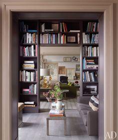 bookshelves framing doorway
