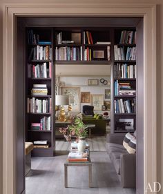 bookshelves framing doorway