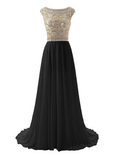 Amazon.com: Wedtrend Women's Floor Length Prom Dress Sexy Chiffon Evening Dress with Beads: Clothing