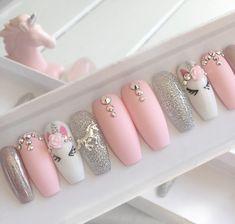 Nails pink Pink unicorn press on false nails stiletto nails short coffin Fake nails Acrylic nails gel nails holographic short nails Glue On Nails, My Nails, Jamberry Nails, Elegant Touch Nails, Nagel Blog, Super Nails, Nagel Gel, Birthday Nails, Birthday Makeup