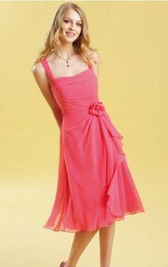 Chiffon Shoulder Straps Empire A-line Knee-length Bridesmaid Dresses 0740134