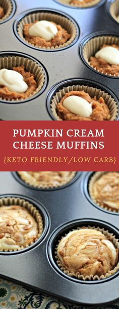 This Keto Pumpkin Muffins with a Cream Cheese Swirl Recipe is going to be a go-to treat or breakfast in the fall. Pumpkin Cream Cheese Muffins, Pumpkin Cream Cheeses, Cheese Pumpkin, Low Carb Deserts, Low Carb Sweets, Low Carb Keto, Low Carb Recipes, Keto Fat, Keto Friendly Desserts