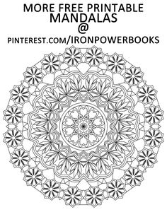 Free Printable Mandala for you to Color. For more Mandalas (Easy to Intricate) follow @ironpowerbooks | Click here for 49 more mandalas you can color: http://www.amazon.com/Mandalas-Color-Mandala-Coloring-Adults/dp/149733716X Copyright © 2014 IRONPOWER PUBLISHING