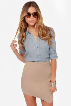 Breaking Point Asymmetrical Beige Skirt at Lulus.com!