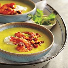 Chilled Avocado Soup with Seared Chipotle Shrimp - Avocado Recipes - Cooking Light Avocado Soup, Avocado Recipes, Healthy Recipes, Shrimp Avocado, Ripe Avocado, Protein Recipes, Healthy Soup, Healthy Meals, Shrimp Recipes