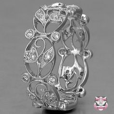 Diamond Wedding Band Art Nouveau Style