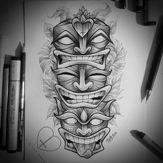 Tiki totem illustration for tattoo Tim van horn TVH Totem Tattoo, Tiki Tattoo, Hawaiianisches Tattoo, Mask Tattoo, Tattoo Set, Clown Face Tattoo, Kunst Tattoos, Bild Tattoos, Body Art Tattoos