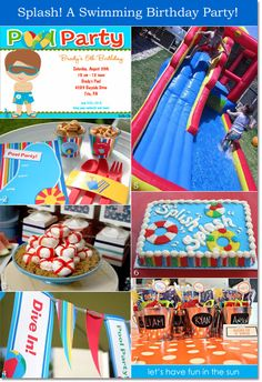Swimming party theme for boy's birthday, includes a swimming themed birthday cake!  #swimmingparty #birthdaysforkids #kidsbirthdays #kidssummerparties