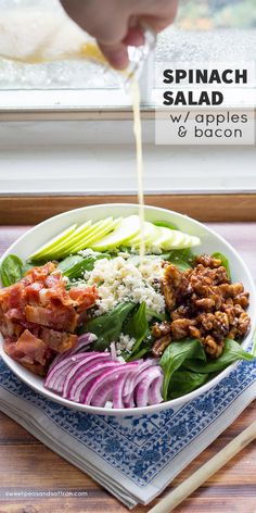 Spinach Salad with Apples, Bacon, and Spicy Maple Walnuts @sweetpeasaffron