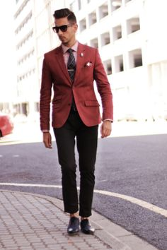 Mens Fashion - Red blazer, tartan tie, check shirt, skull lapel pin, white and red pocket square, black pants, blue brogues