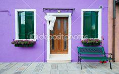 barevné domy burano, Benátky, Itálie — Stock obrázek #17688903