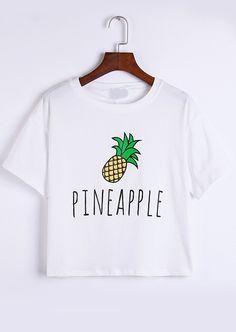 Romwe Pineapple Print White T-shirt