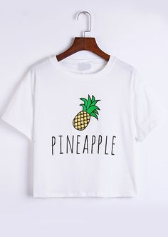 Romwe Pineapple Print White T-shirt